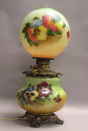 Handpainted Pansy Decorated Glass and Brass Plated Cast Metal GonewiththeWind Table Lamp