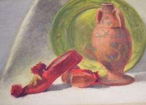 Framed Watercolor Still Life with Tableware and Shoes