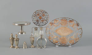 Group of sterling silver mounted and weighted tablewares