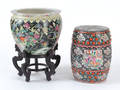 Chinese porcelain garden seat and cache pot