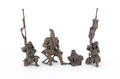 Four Japanese bronze figures