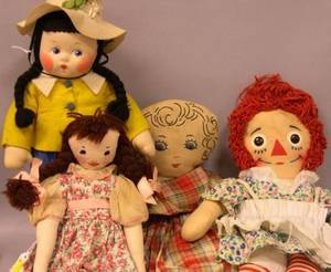 Four Cloth Dolls including Madame Alexander Susie Q