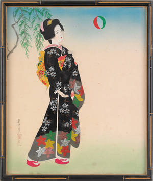 Set of four Japanese painted silk portraits
