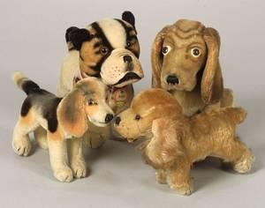 Four Steiff Mohair Dogs