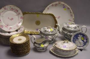 Thirty Pieces of Assorted English and French Decorated Ceramic Tableware