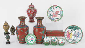 Group of cloisonn table articles to include two vases