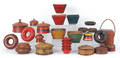 Group of Southeast Asian painted turned woodenware and baskets