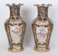 Pair of massive Chinese famille rose palace urns