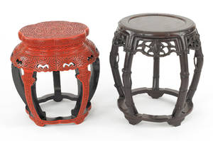 Chinese red lacquered end table