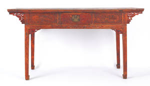 Chinese red lacquered center table with three drawers