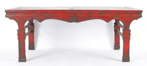 Chinese red lacquered center table