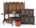 Inlaid teak suite of 20th c bedroom furniture