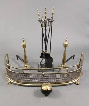 Brass Fire Set wFender Tools  Andirons