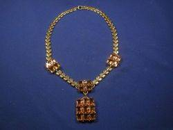 Retro 14kt Gold and Citrine Pendant Necklace