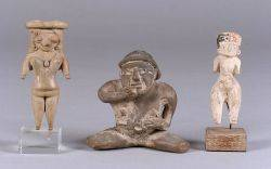 Three PreColumbian Female Pottery Figures