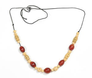 Chinese carved ivory and amber necklace
