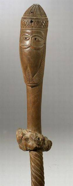 African Carved Wood Staff