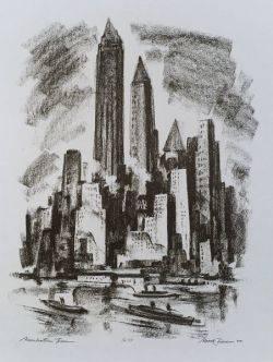 Mark Freeman American b 1908 Manhattan Towers