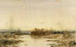 Samuel R Chaffee American 19th20th Century Lot of Two Works Including Crescent Moon and Sunrise Over the Marshes