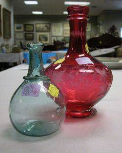 Pale Aqua Blown Glass Chestnut Bottle and an Etched Ruby Glass Presentation Vase