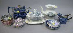 Group of Assorted Staffordshire Transfer Decorated Tableware