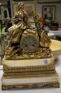 French Bronze Figural Mantel Clock