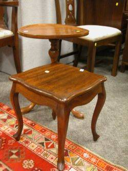 Mahogany Dishtop Stand and a Frenchstyle Mahogany Stand