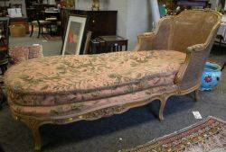 Louis XV Style Caned and Upholstered Carved Mahogany Chaise