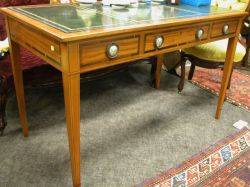 Louis XVI Style Leather Inset Inlaid Fruitwood ThreeDrawer Library Table