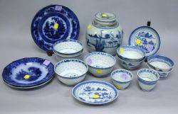 Fourteen Pieces of Chinese Blue and White Porcelain and Three Flow Blue Plates