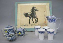 Eight Pieces of Asian Porcelain and a Painting