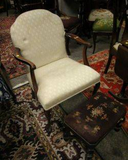 Queen AnneStyle Upholstered Mahogany Armchair and a Rococostyle Needlepoint Upholstered Stained Footstool