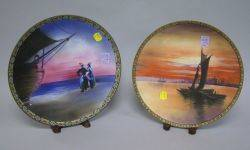 Pair of Nippon Handpainted Scenic Decorated Porcelain Plaques