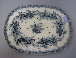 Staffordshire Transfer Decorated Lily of the Valley Pattern Pierced Platter Insert