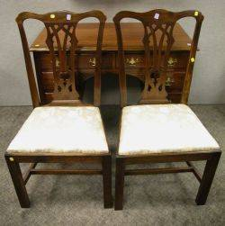 Pair of Bill Chalpara Chippendalestyle Mahogany and Cherry Side Chairs
