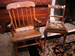 Childs Pine Rocker and a Victorianstyle Needlepoint Upholstered Side Chair