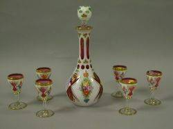 Floral Enamel Decorated White Cased Cranberry Glass Decanter and Six Cordial Set and Two Japanese Porcelain Partial Tea Sets