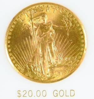 US 1927 P 20 gold St Gaudens coin