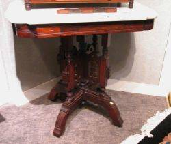 Renaissance Revival White Marbletop Walnut Occasional Table