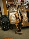 African Carved Wood Mask Figural Group and a Pair of Chieftain Chairs