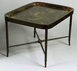 Victorian Tole Tray on Later Stand