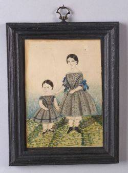 American School 19th Century Watercolor Portrait of Two Sisters