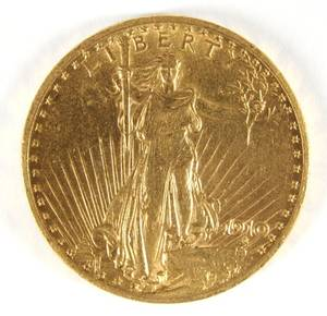 US 1910 20 gold St Gaudens coin