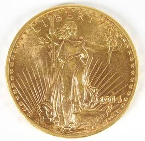 US 1914 20 gold St Gaudens coin
