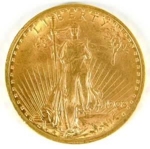 US 1908 20 gold St Gaudens coin