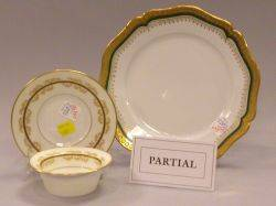 Set of Nine Limoges Gilt and Green Porcelain Cake Plates and a Set of Seven Ramekins and Eight Saucers