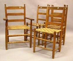 Set of Four Ladderback Side Chairs and a Victorian Ladderback Armchair