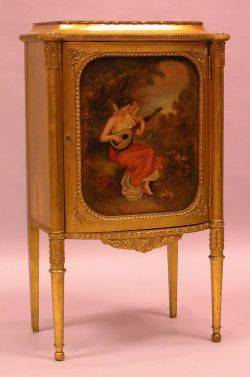 Louis XVI Style PaintDecorated Giltwood Music Cabinet