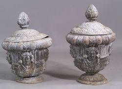 Pair of Covered Lead Garden Urns