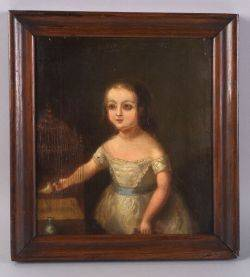 American School 19th Century Portrait of a Little Girl and Her Pet Bird